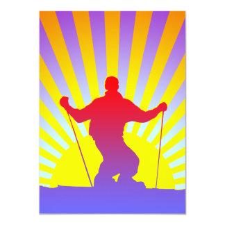 downhill skier 11 cm x 16 cm invitation card