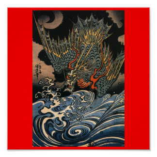 Dragon flying over the Water c. 1800's (Japan) Poster