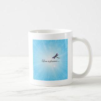 """Dragonfly  """"LOVE is Forever"""" Basic White Mug"""