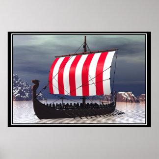 Drakkar Viking Sailing Ship Poster