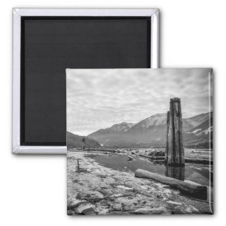 Dramatic Black and White Winter Low River Photo Square Magnet
