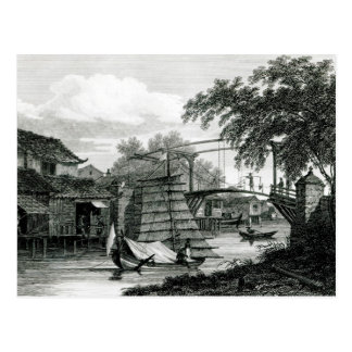 Drawbridge at Malacca, engraved by George Cooke Postcard