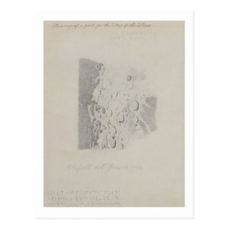 Drawing for the map of the moon, 1794 (pencil on p postcard