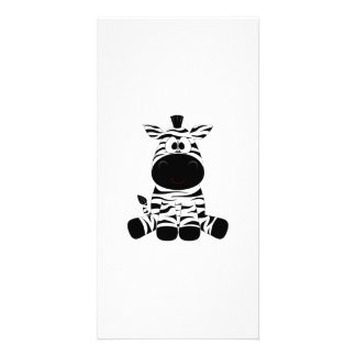 Drawn Black and White Cartoon Zebra sitting Picture Card