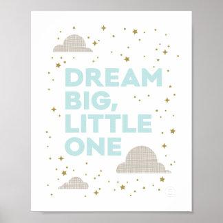 Dream Big, Little One Art Print in Aqua