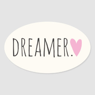 Dreamer with Heart Oval Sticker