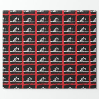 Dual White Oil Pumping Unit Silhouette Wrapping Paper