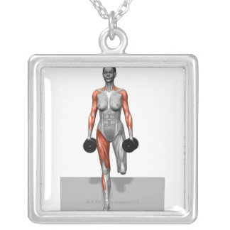 Dumbbell Single Leg Deadlift 4 Square Pendant Necklace