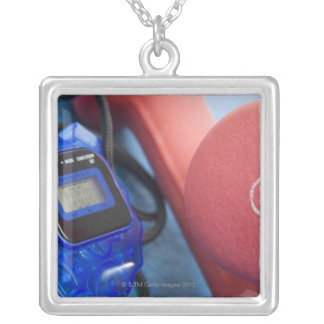 Dumbbells and stopwatch square pendant necklace