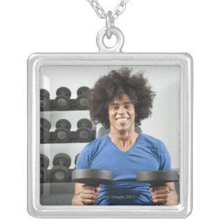 Dumbbells Square Pendant Necklace
