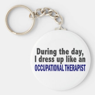 During The Day I Dress Up Occupational Therapist Basic Round Button Key Ring