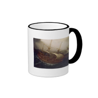 Dutch Battleship in a Storm Ringer Mug