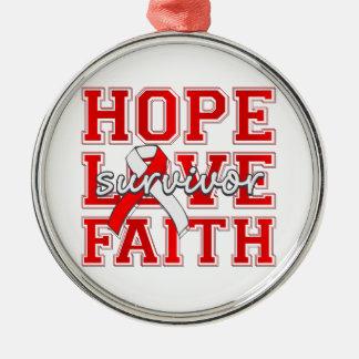 DVT Hope Love Faith Survivor Silver-Colored Round Decoration