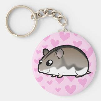 Dwarf Hamster Love Basic Round Button Key Ring