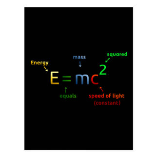 E = MC^2. E equals MC Squared Postcard