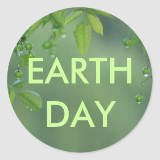 Earth day and think green round sticker