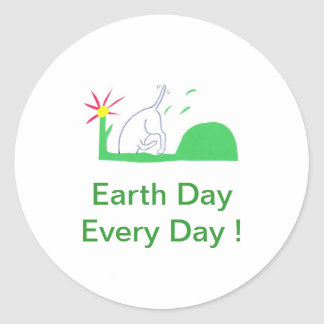 Earth Day Dog Digging Round Sticker