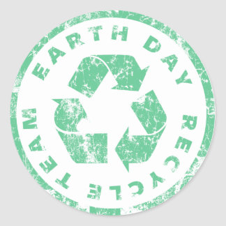 Earth Day Recycle Team Round Sticker