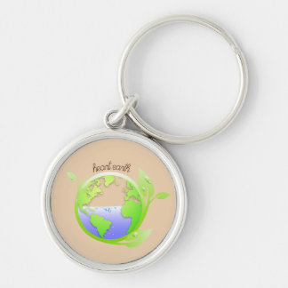 Earth, Environment Silver-Colored Round Key Ring