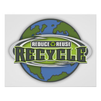 Earth Reduce, Reuse and Recycle Poster