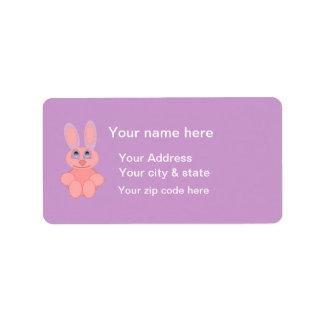 Easter Bunny Pink Rabbit Postage Stamp Address Label