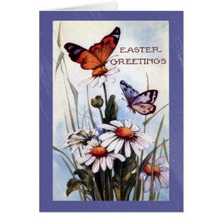 Easter Butterflies and Flowers Greetings Card