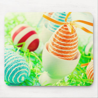 Easter eggs on grass mouse pad