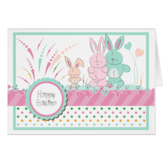 """Easter - """"Happy Bunny Family"""" - Customize Greeting Card"""