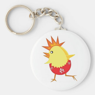 Easter Punk Rock Chicken Basic Round Button Key Ring