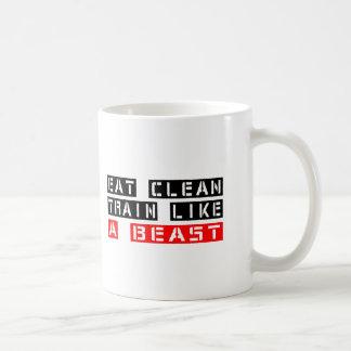 Eat Clean Train Like A Beast Basic White Mug