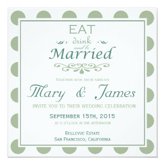 EAT, DRINK AND BE MARRIED (blue square) 13 Cm X 13 Cm Square Invitation Card