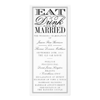 Eat, Drink & Be Married Modern Black/White Wedding Customized Rack Card