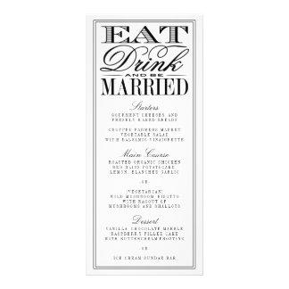 Eat, Drink & Be Married Modern Black/White Wedding Rack Card Design