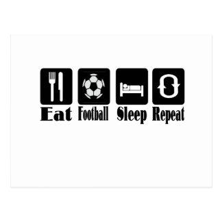 eat football sleep and repeat postcard