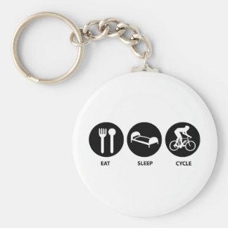 Eat Sleep Cycle Basic Round Button Key Ring