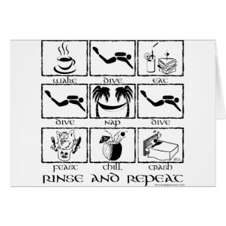 Eat Sleep Dive Rinse and Repeat Greeting Card