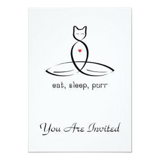 Eat Sleep Purr - Fancy style text. 13 Cm X 18 Cm Invitation Card