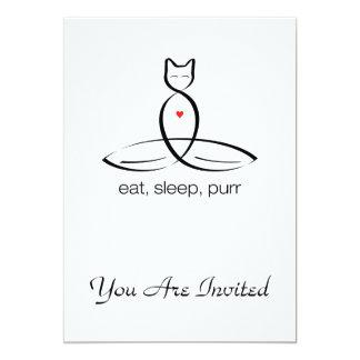 Eat Sleep Purr - Regular style text. 13 Cm X 18 Cm Invitation Card