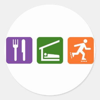 Eat Sleep Rollerblading Round Sticker