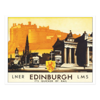 Edinburgh Vintage Travel Poster Postcard