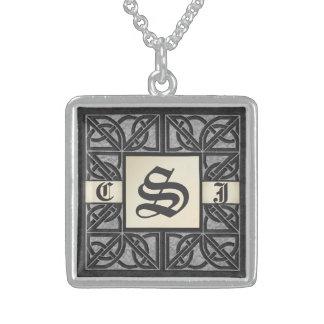 "Editable 3 initial ""Silver Stone"" Monogram Necklac Square Pendant Necklace"