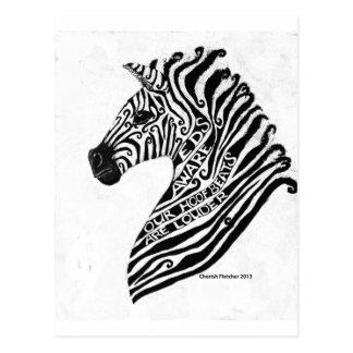 EDS Aware Zebra Postcard