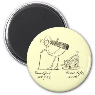 Edward Lear and Foss 6 Cm Round Magnet