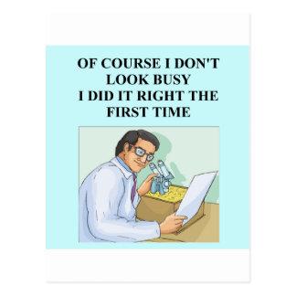 efficent smart scientist postcard