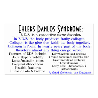 ehlers danlos syndrome awareness card pack of standard business cards