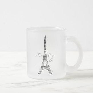 Eiffel Tower Frosted Glass Mug
