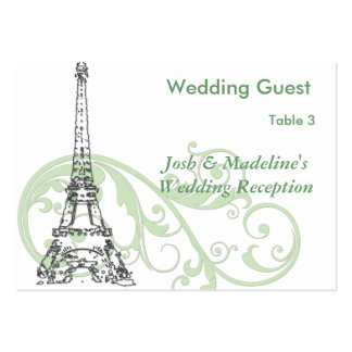 Eiffel Tower & Green Scroll Reception Table cards Pack Of Chubby Business Cards