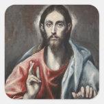 El Greco - Christ Blessing Square Sticker