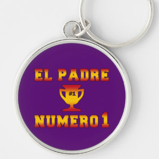 El Padre Número 1 #1 Dad in Spanish Father's Day Silver-Colored Round Key Ring