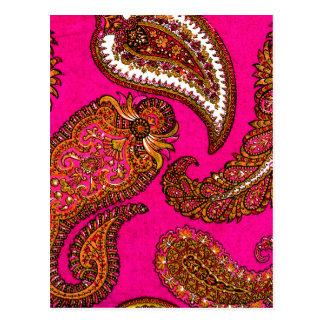 Electric Fuscia Indian Paisley Pink Postcard